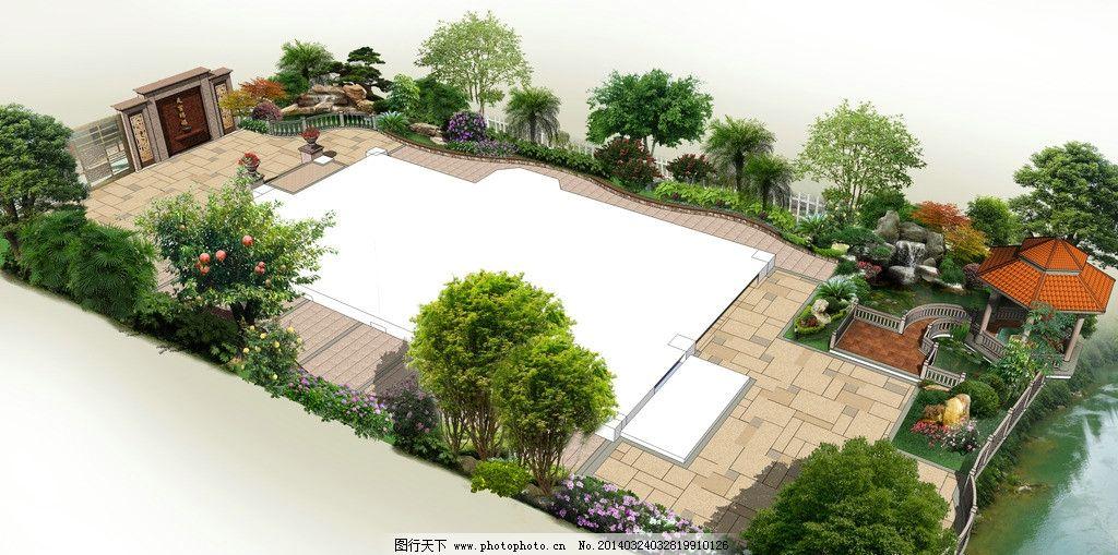 别墅庭院鸟瞰图图片