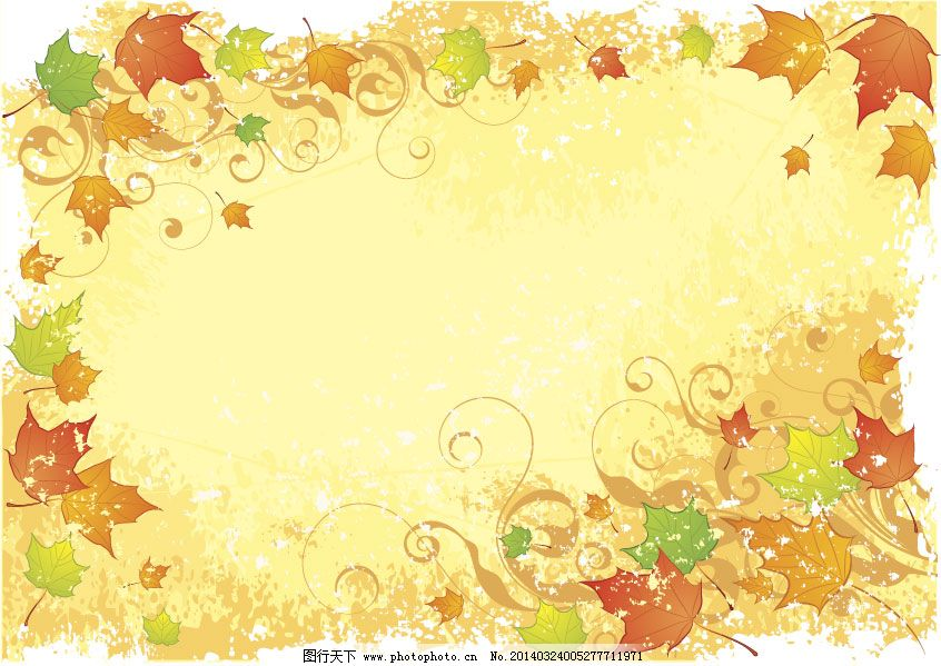 植物边框矢量素材免费下载 花边 秋天 矢量边框 矢量素材 树叶 藤蔓