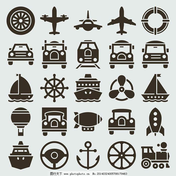 精美交通工具图标矢量