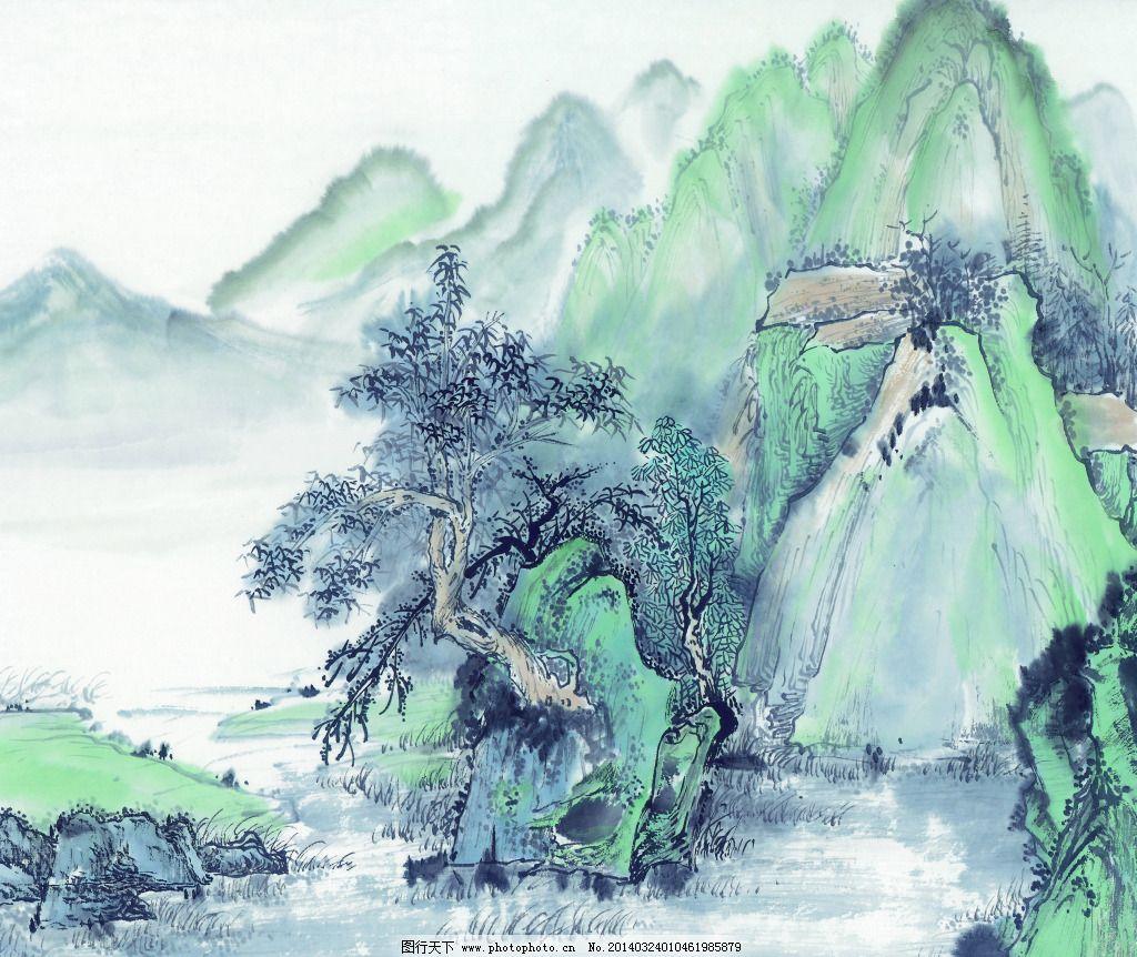 听风免费下载 草地 高山 国画 山水 树木 水墨画 索亚c-3364 国画