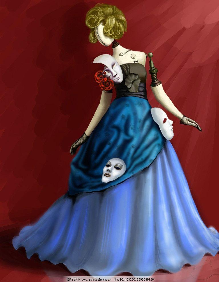 面具人物 cg 面具 美女 手绘 无脸人 机械 动漫人物 动漫动画 设计