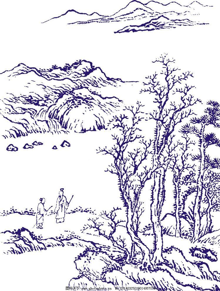 手绘山水风景简笔高清