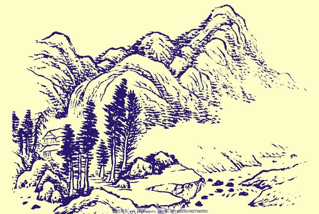 国画山水 国画 山水画 水墨画 山石 山脉 岩石 石头 树木 柳树 亭子