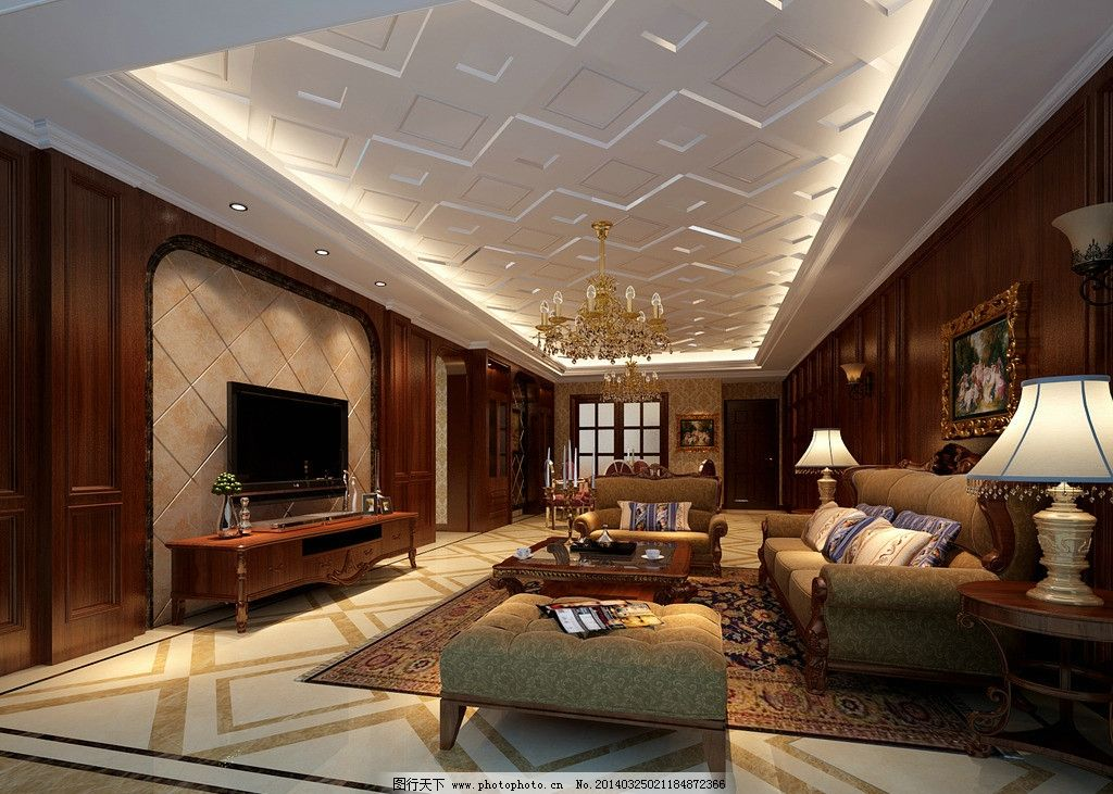 客厅效果图 沙发 吊灯 电视背景墙 台灯 油画 地毯