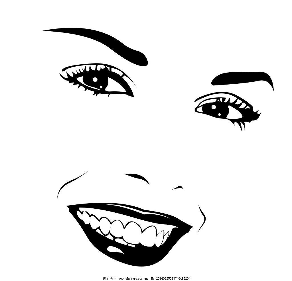 手绘美女 手绘少女 女孩 女人 脸部 眼睛 少女 线描 时尚 女性 女子