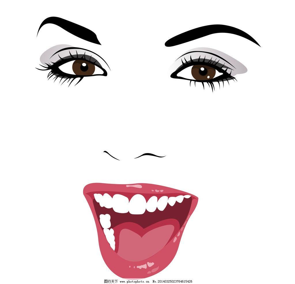 手绘美女 手绘少女 女孩 女人 脸部 红唇 眼睛 少女 线描 时尚 女性