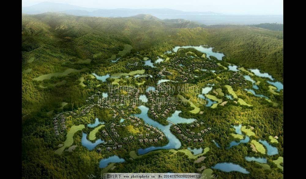 绿化带住宅房 乡村效果图 乡村设计 高山田野住宅 森林 村庄鸟瞰图