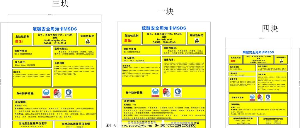 液碱 硫酸 磷酸 周知卡 安全 天然气 msds 名片卡片 广告设计 矢量