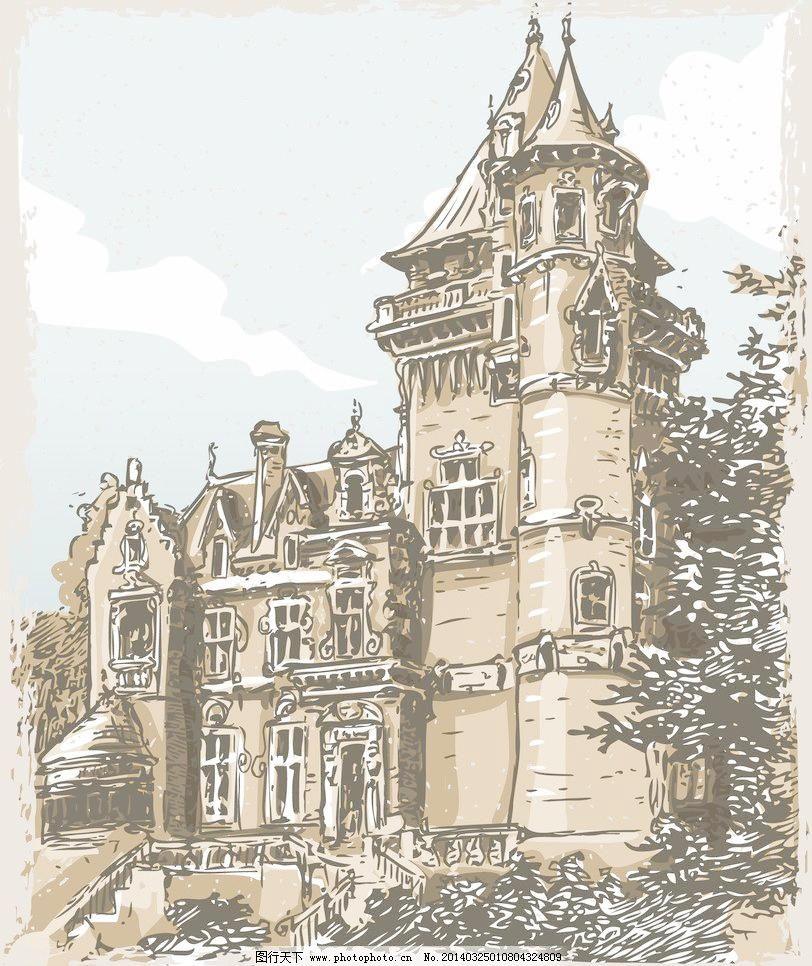 欧式圆顶古堡建筑手绘