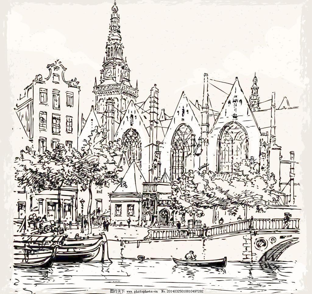 欧式建筑素描图片简单一点的图片