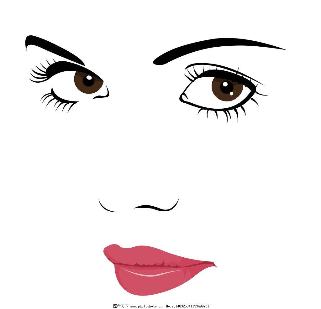 手绘美女 手绘少女 女孩 女人 脸部 红唇 眼睛 线描 时尚 女性