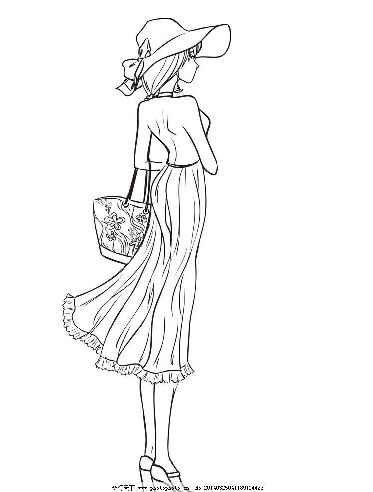 手绘少女 女孩 女人 时尚 女性 美少女 女子 服装设计 素描