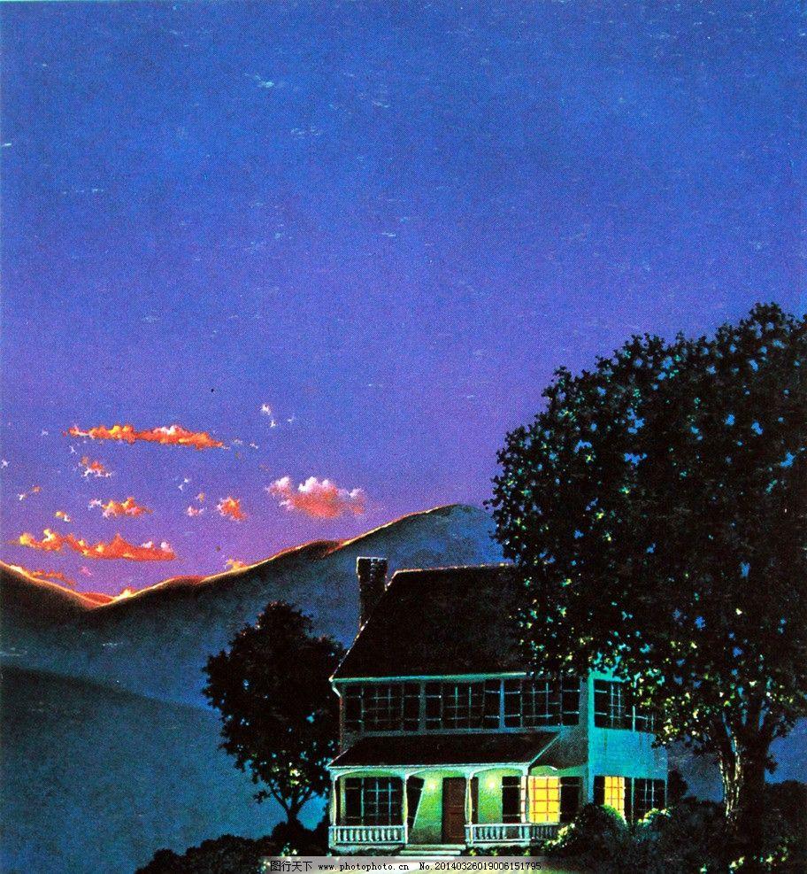 风景水彩画 水彩画作品 绘画 房子 别墅 树木 植物 夜景 灯光 晚霞