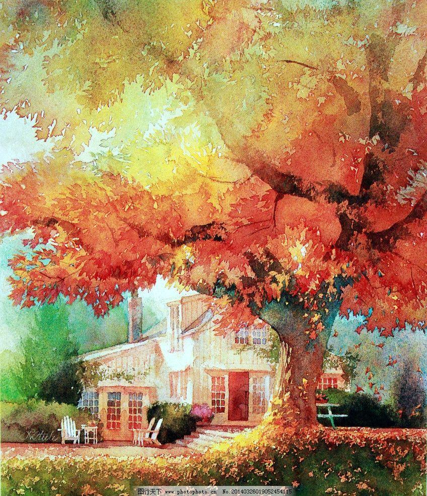 水彩画-鲜艳风景油画