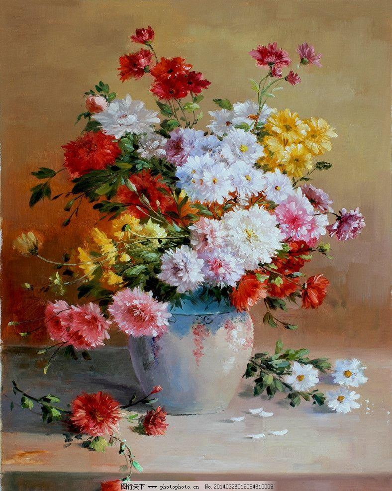 手绘花卉油画 鲜花 五颜六色 花瓶 满园春色 手绘油画 创作油画 绘画