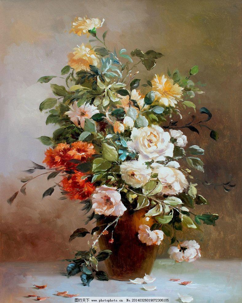 手绘花卉油画图片
