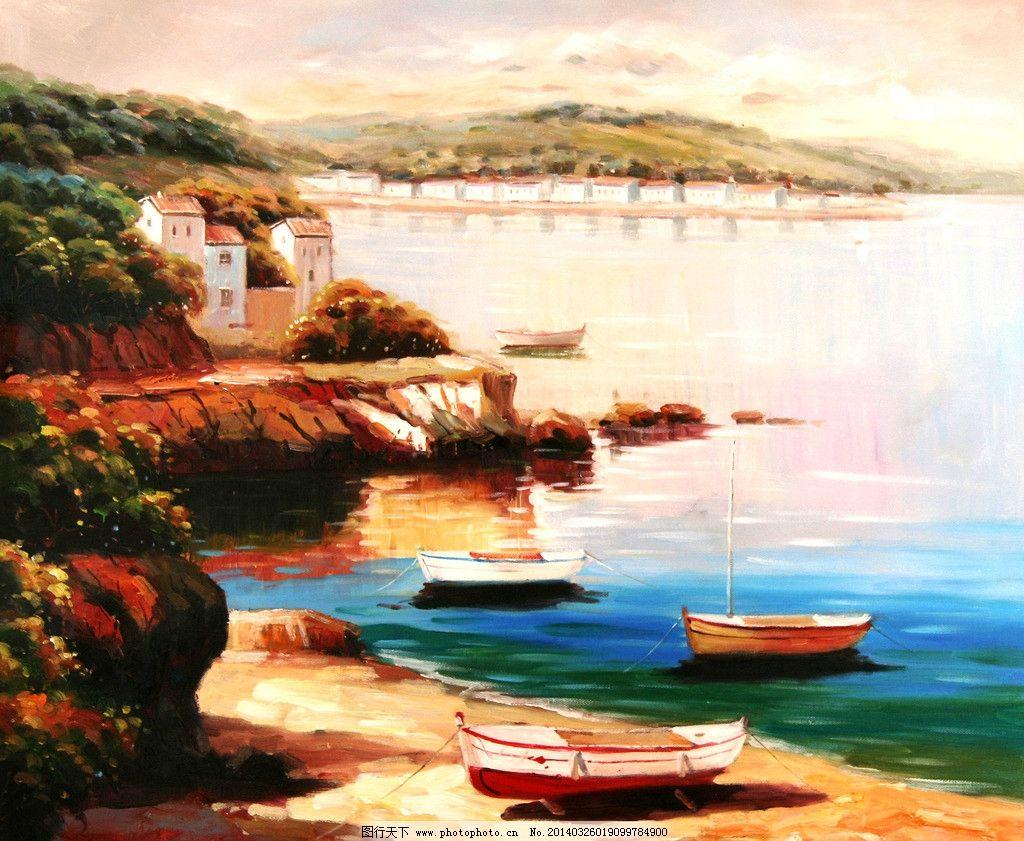 船景油画 地中海 船景 欧式 油画 装饰 绘画书法 文化艺术 设计 72dpi