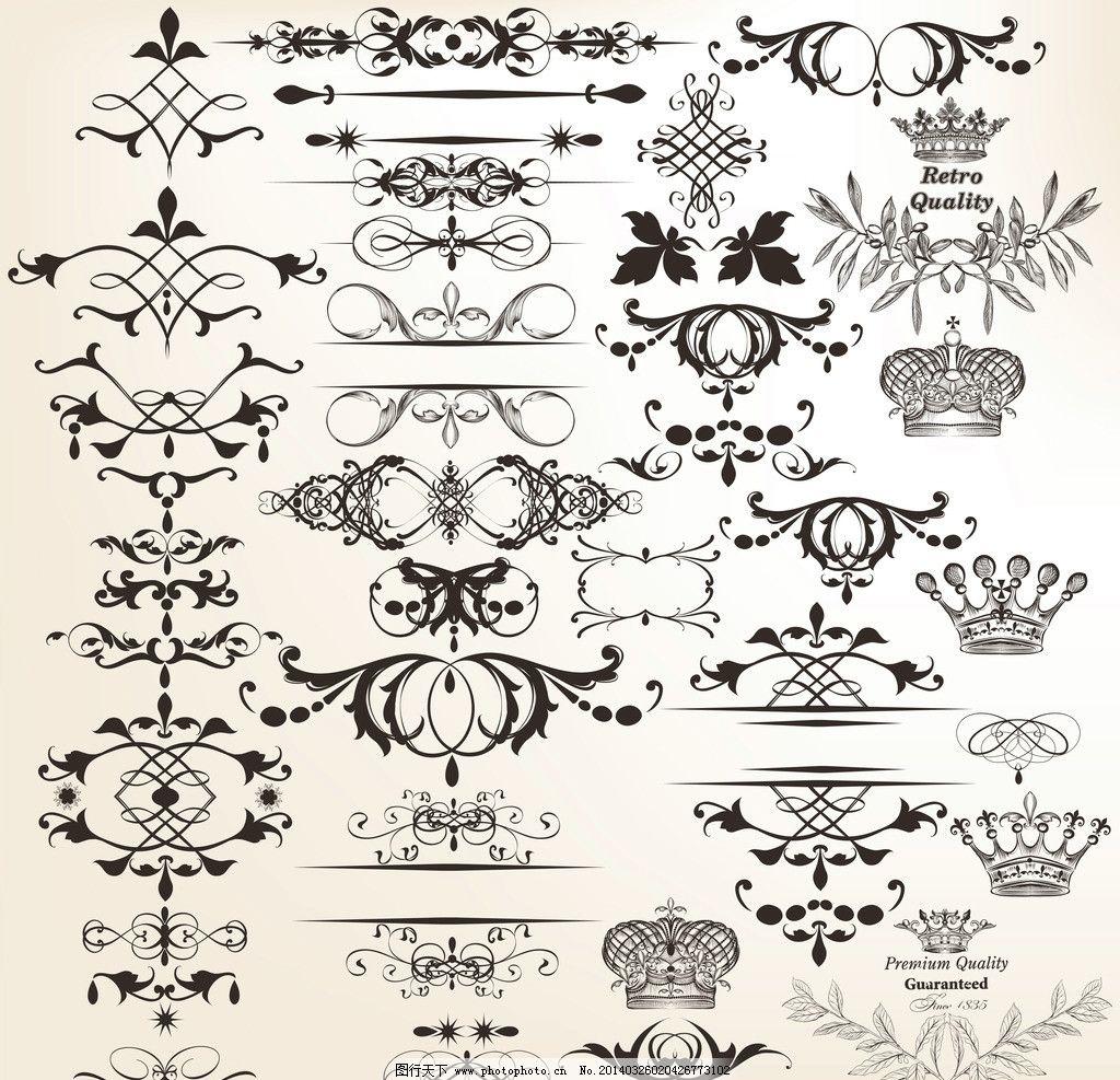 欧式 花纹 欧式花纹 标签 欧式花纹背景 皇冠 王冠 花纹花卉 手绘
