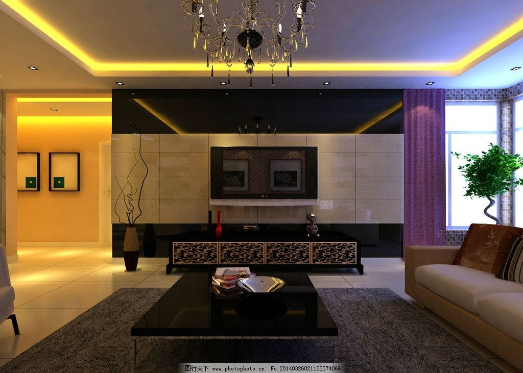 简约 现代 家装        电视墙 黑镜玻璃 石材 3d作品 3d设计 设计 72