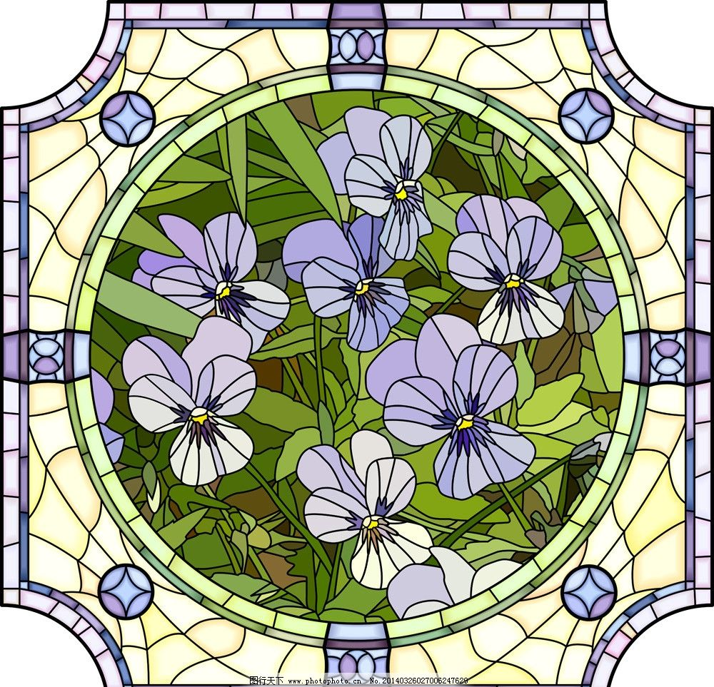 窗花 窗户 花卉 手绘花卉 绿叶 花纹 底纹 暗纹 圆 天窗 花草背景