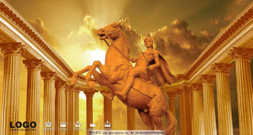房地产 欧式建筑 欧式雕塑 骑士 罗马柱 夕阳 朝霞 人物雕塑 人物 psd