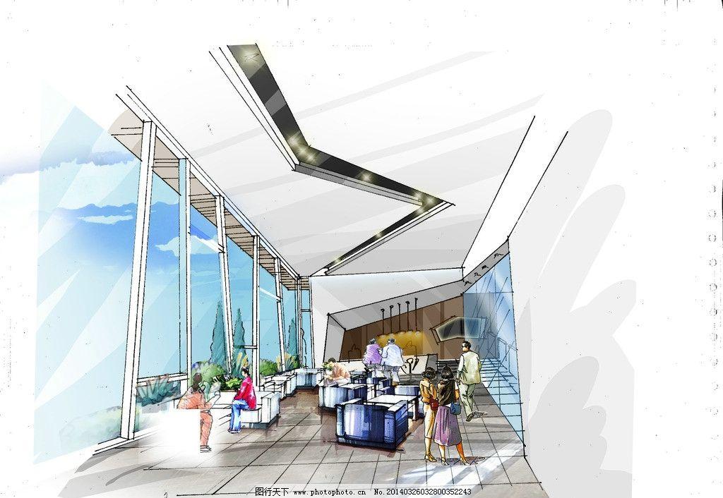 手绘室内表现 空间效果图 ps效果图 手绘表现 空间表达 大堂效果图 客