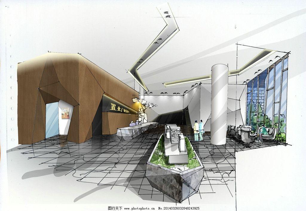 售楼部大堂效果图 手绘效果图 室内效果图 手绘室内表现 空间效果图