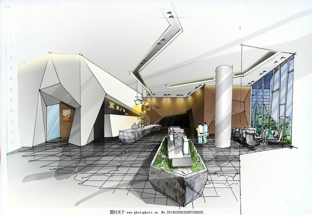 售楼部手绘效果图 手绘效果图 室内效果图 手绘室内表现 空间效果图