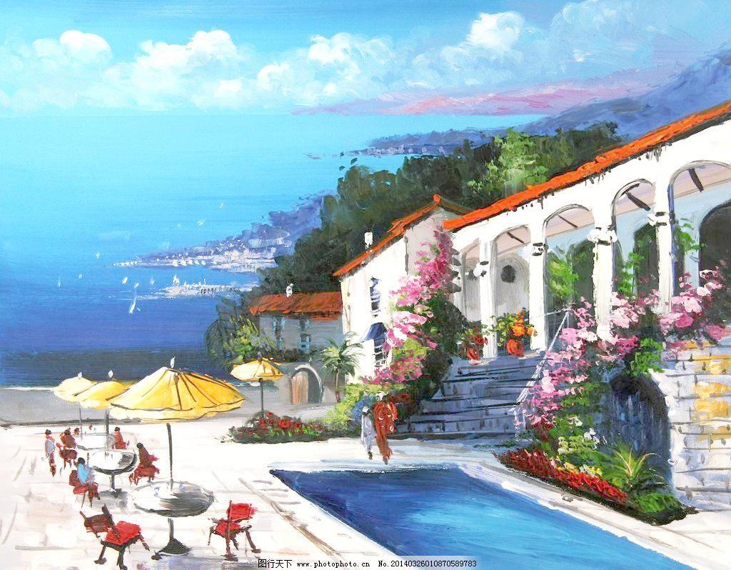 地中海油画模板下载 地中海油画 地中海 海景 刀画 欧式 油画 装饰