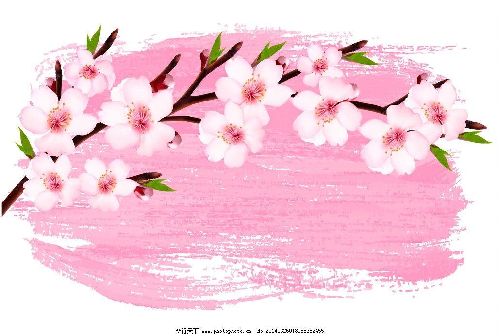 桃花 春季 绿叶 手绘 墨迹 背景 精美 樱花 花卉 时尚花纹