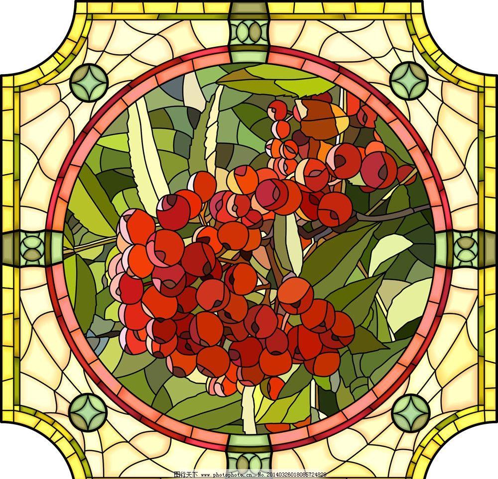 手绘花卉 窗花 窗户 绿叶 花纹 底纹 暗纹 圆 天窗 花草背景