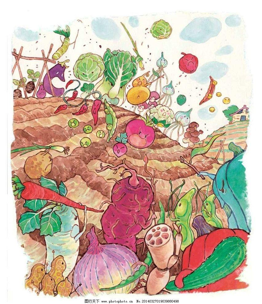 彩色手绘 插画 古朴 乡村 蔬菜 莲藕