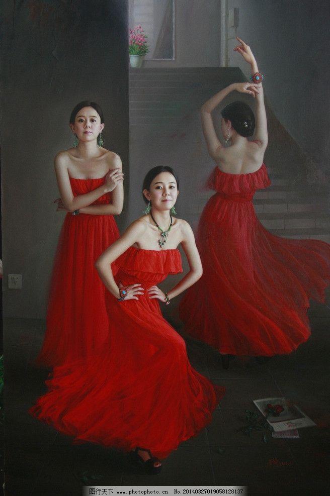 中国唯美人物油画 现代 红衣