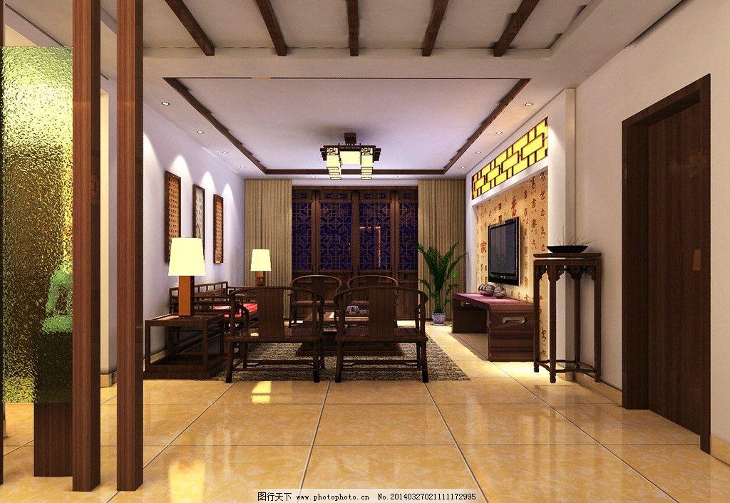 中式家装效果图 中式 家装             吊顶 3d效果图jpg 3d作品 3d