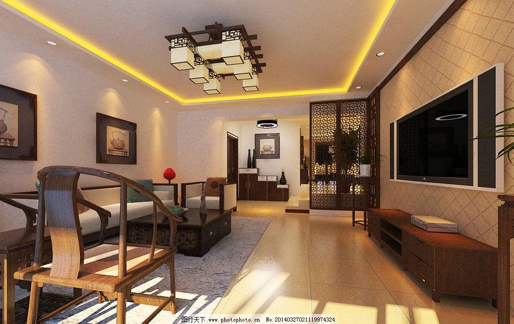 中式家装效果图 吊顶 客厅 电视墙