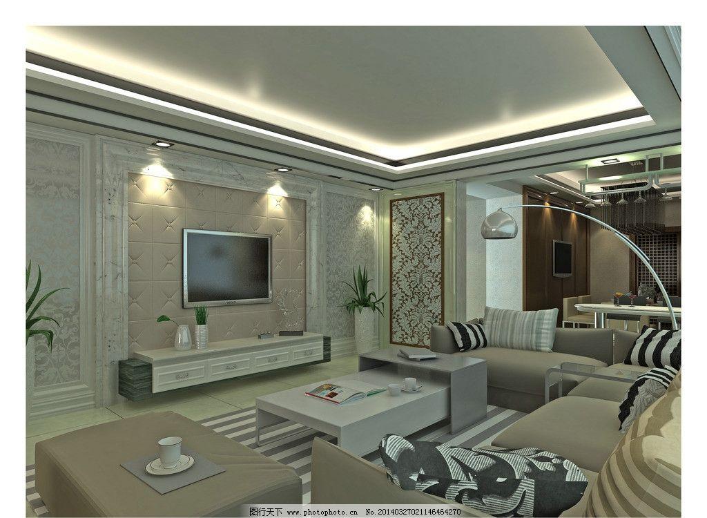 客厅效果图 客厅模板下载 吊灯 电视 沙发 灯光 室内设计 环境设计图片