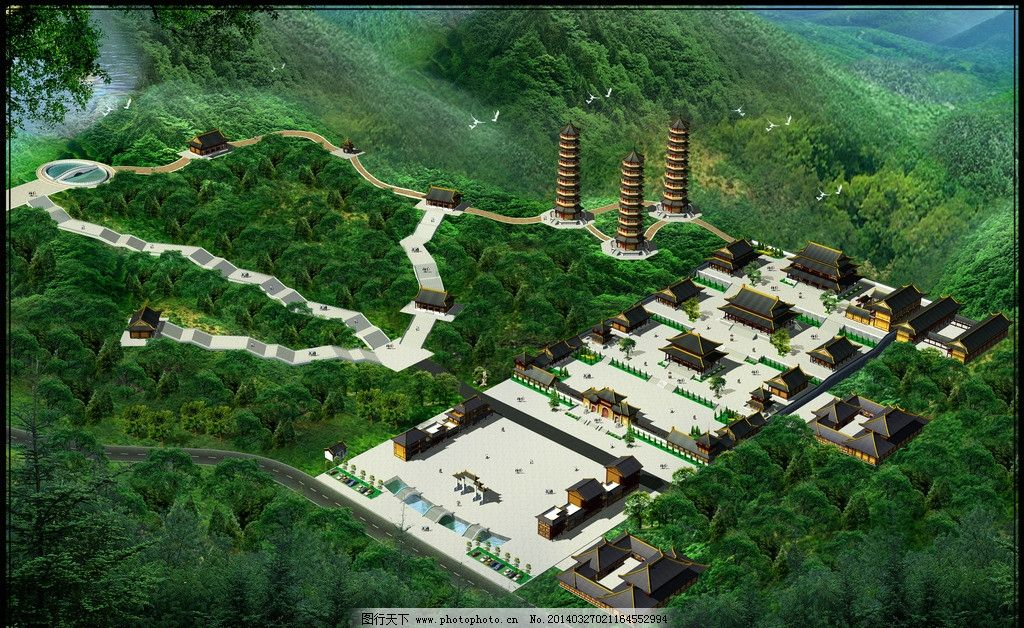 古建效果图 寺院环境效果图 寺庙 古代建筑 效果图模板下载 山地古