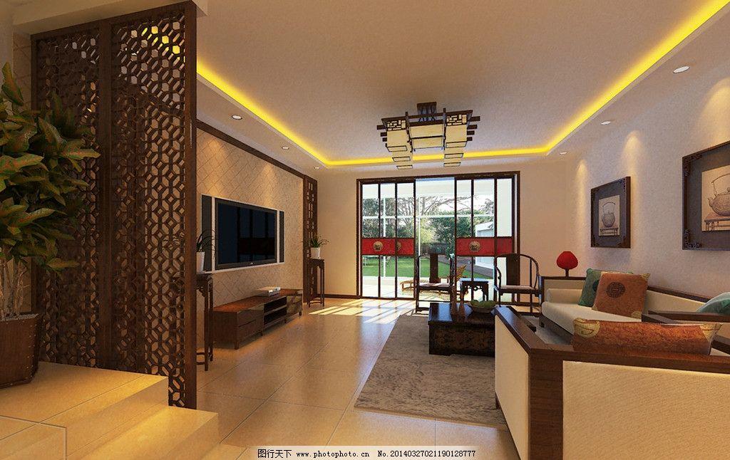 中式家装效果图 中式 吊顶             过厅 中式雕花 电视墙 沙发