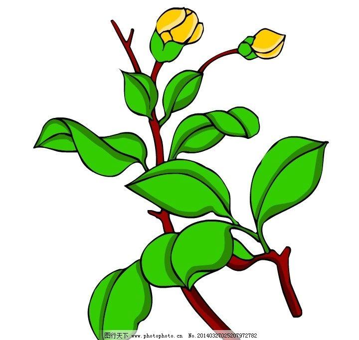 花朵 树枝 绿色 线条 黄色 矢量