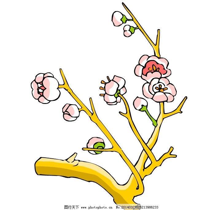 花 树枝 花朵 花瓣 线条 黄色 粉色 树木树叶 生物世界 矢量 ai