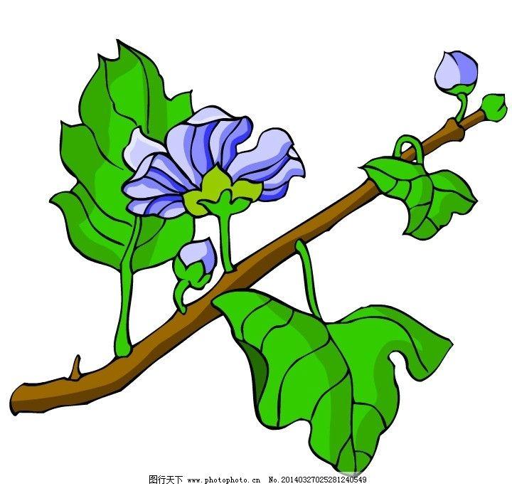 花朵 花 树枝 线条 花瓣 粉色 绿色 树木树叶 生物世界 矢量 ai