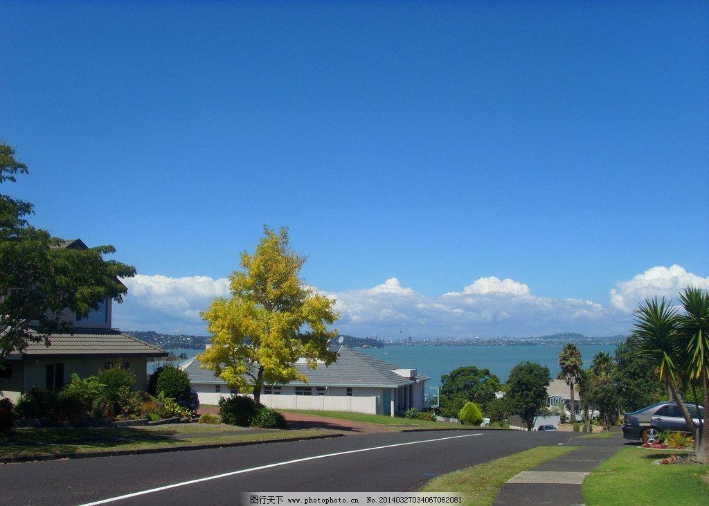 海滨风景 蓝天 白云 大海 海水 绿树 绿地 建筑 别墅 道路 新西兰海滨