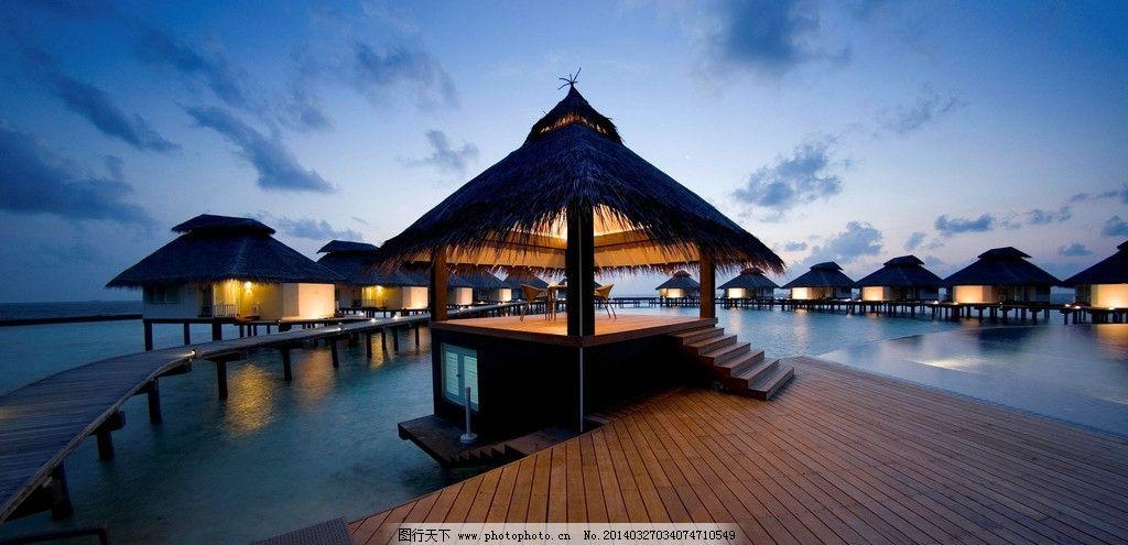 马尔代夫风光 摄影图片 度假村 马尔代夫夜景 大海 海边 小木屋 国外