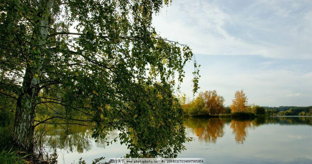 湖岸风景图片