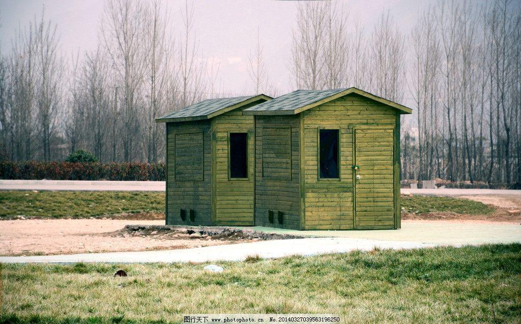 小屋 小路 草地 天空 树木 园林建筑 建筑园林 摄影 300dpi jpg
