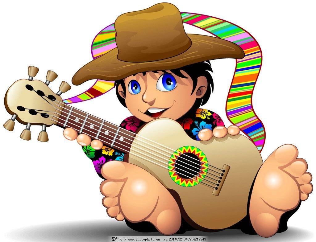 卡通男孩和吉他图片