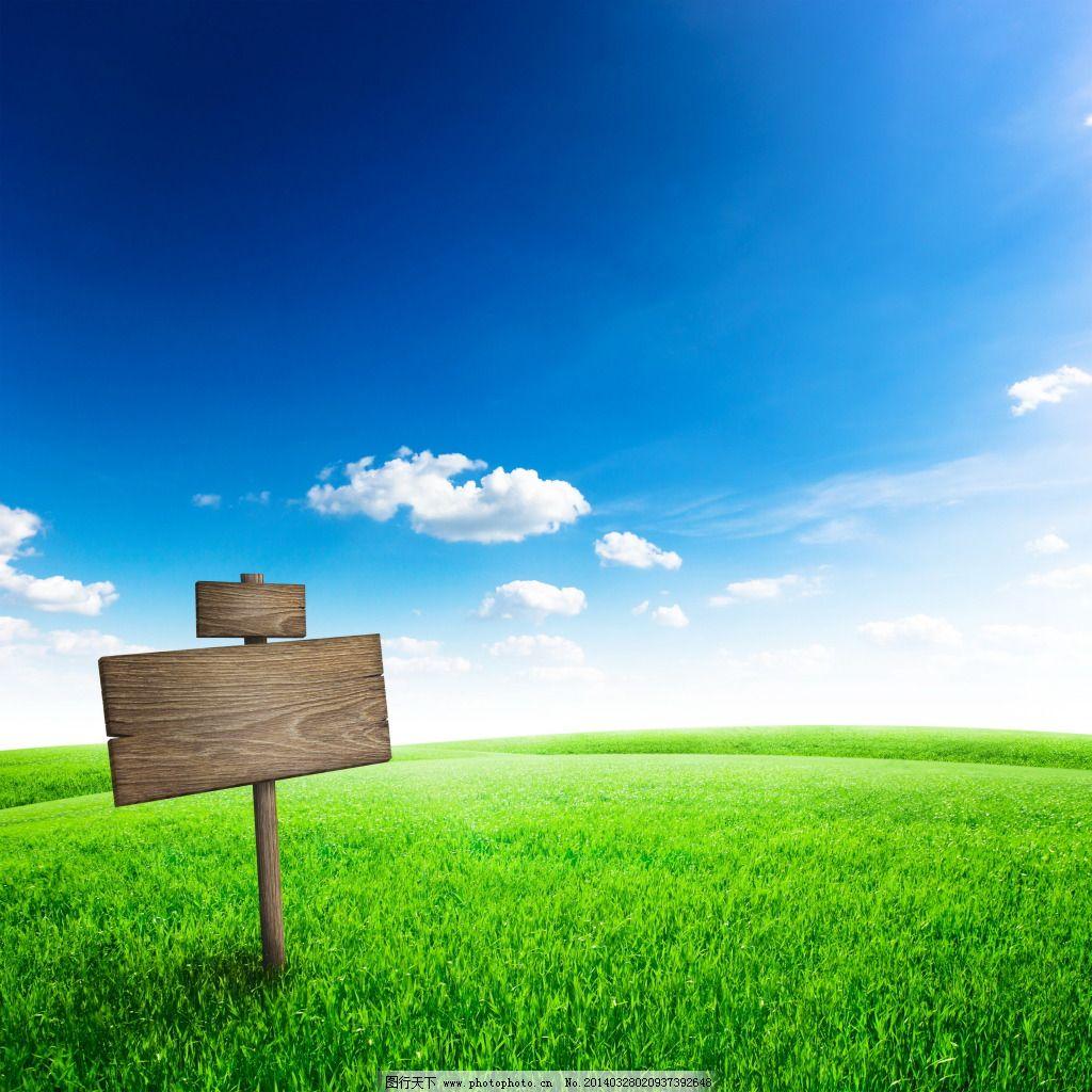 白云 草坪 蓝天 蓝天 白云 草坪 小木牌 图片素材 背景图片