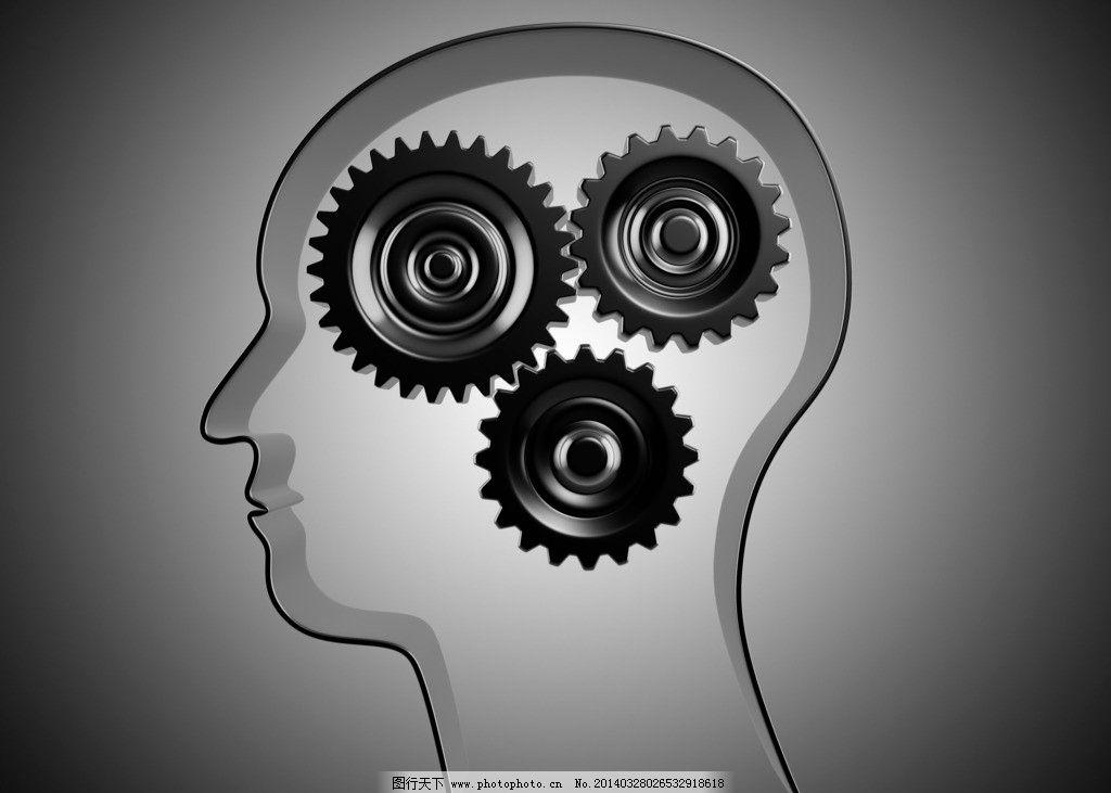 头脑 白色 3d 三维 时间 齿轮 条码 数码广告 数码 广告设计 设计