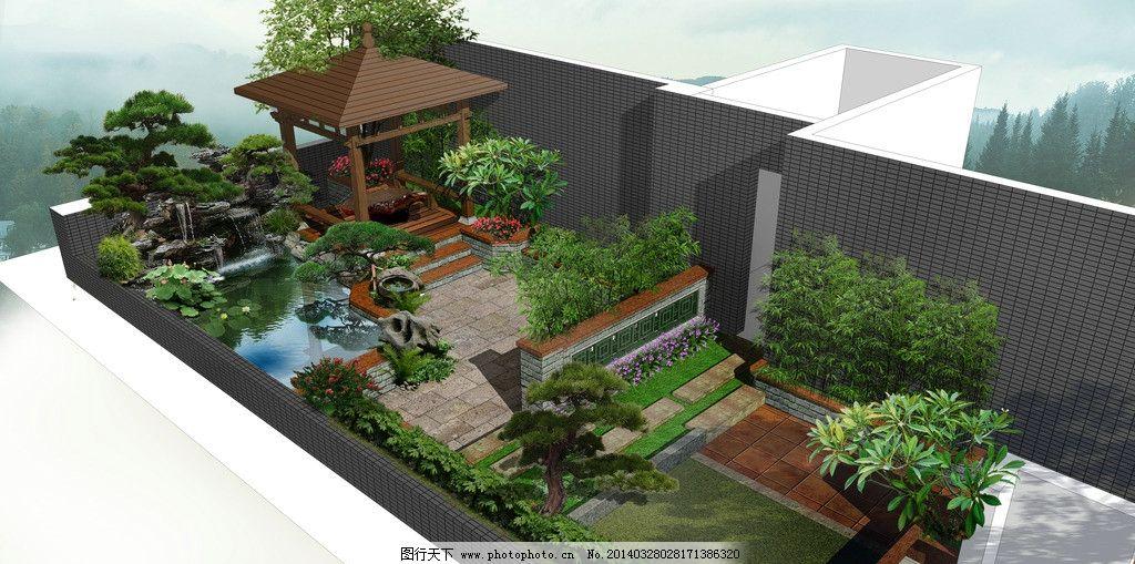 欧式别墅小庭院绿化平面图
