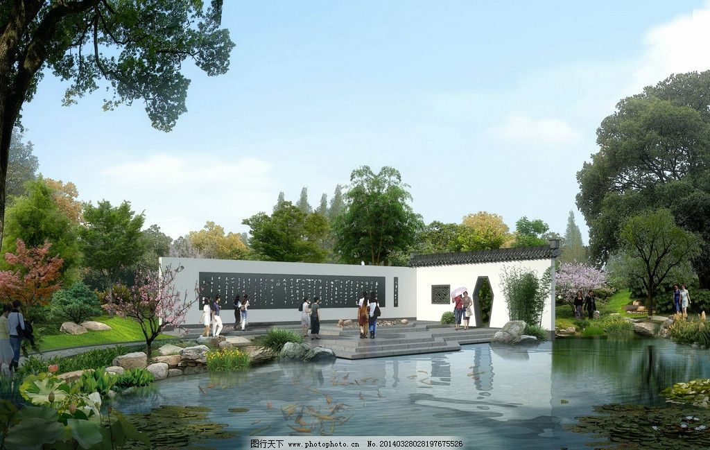 景观 园林小品 水体 景观墙 徽派 水体景观 绿化 树 景观设计 环境